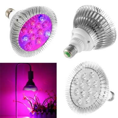 9W 12 LED E27 Red Blue Grow Lámpara para Hidroponía Flores Plantas Vegetales