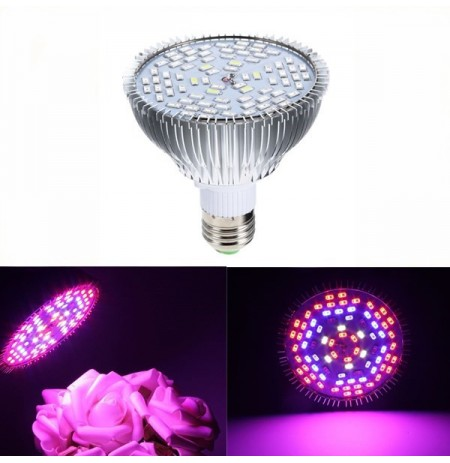 GLIME E27 45W 78 LED Full Spectrum Grow Light Lámpara Blub para plantas Hydroponics Vegetables AC85-265V