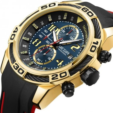 MEGIR 2045 Relógios de esporte Military Chronograph Silicone Strap Men Quartzo Watch