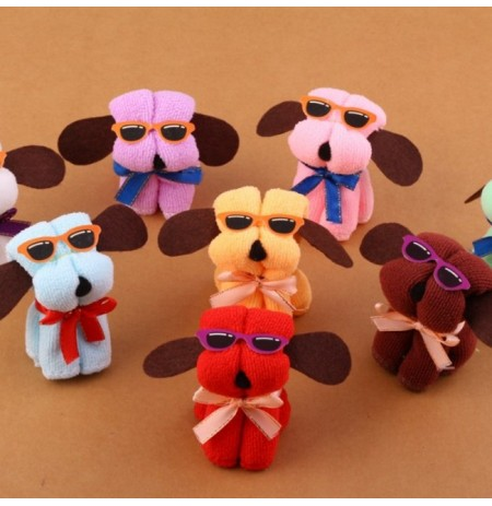 Microfiber Cotton Towel Hot New Dog Cake Shape & Sun Glassess Towel Cotton Washcloth Wedding Gifts