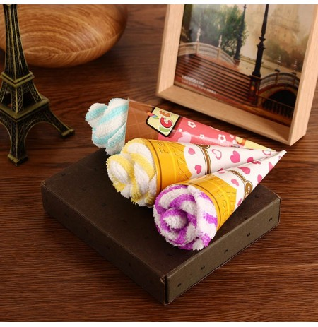 20x20cm Creative Microfiber Ice Cream Shape Towel Festival Valentine Birthday Party Gift
