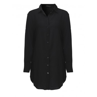 Sexy Casual femmes tourner vers le bas Coller Shirt Dress