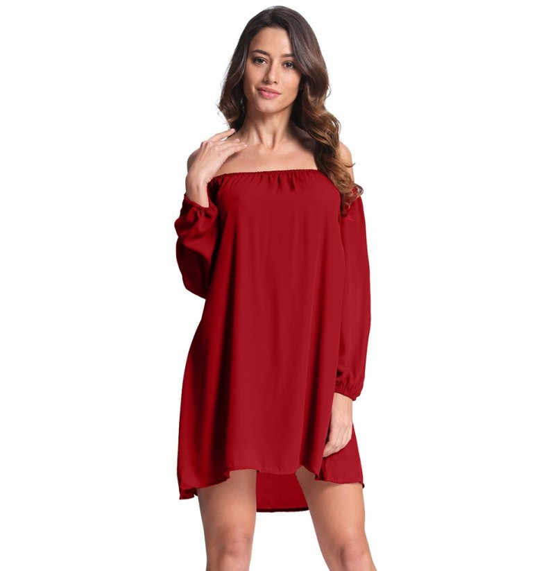 Sexy Women Loose Off Shoulder Dress (Color: Burgundy, Size: 5XL) фото