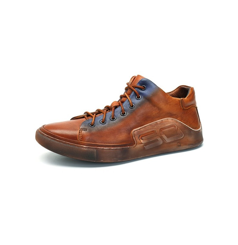 Men Comfy Casual Genuine Leather Sneaker (Color: Brown, Size(US): 7.5) фото