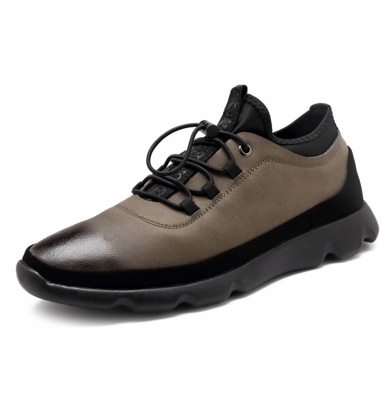 Men Casual Adjustable Elastic Band Comfy Leather Sneakers (Color: Khaki, Size(US): 10) фото