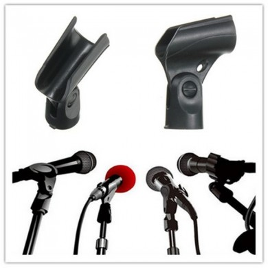 Black Flexible Mic Microphone Accessory Stand Plastic Clamp Clip Holder Mount