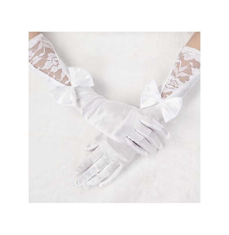 Bridal wedding dress long white satin gloves for Wedding dress with long gloves