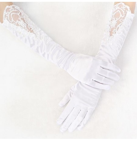 Long Section Pearl Wedding Dress Bridal Five Fingers Gloves