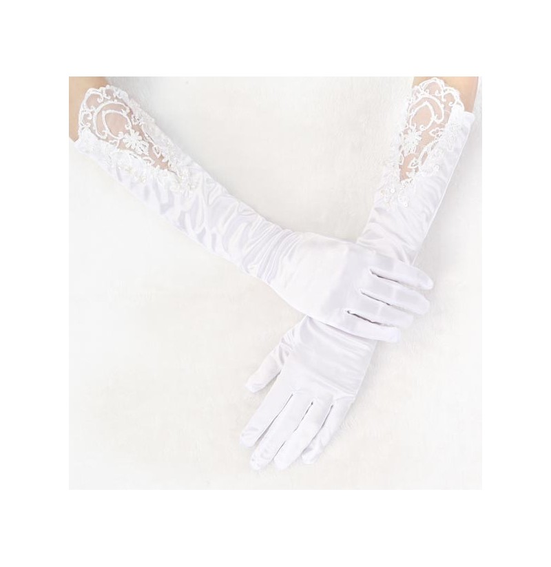Long section pearl wedding dress bridal five fingers gloves for Wedding dress with long gloves
