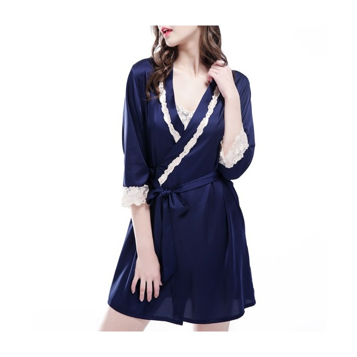Silk Middle Sleeve Straps Lace-Trim Dura Sexy Sexy Nightgown