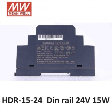 MEAN WELL HDR-15-24 15W Ultra Slim 0.63A 24V 15W DIN Rail Switching Power Supply