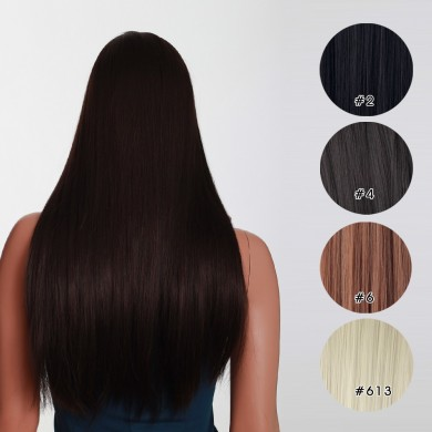 7Pcs NAWOMI Heat Resistant Friendly Clip In Synthetic Fiber Hair Extension 17.72 Inch Natural Black