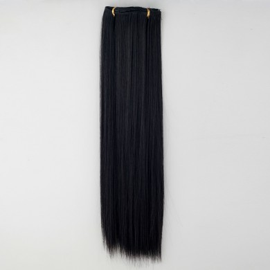 7Pcs NAWOMI Heat Resistant Friendly Clip In Synthetic Fiber Hair Extension 21.65 Inch Natural Black