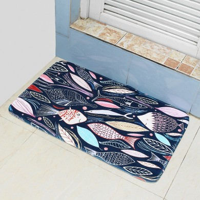 45*75cm Bathroom Shower Bath Mat Non Slip Back Carpet Mat Toilet Rug Leaves Design