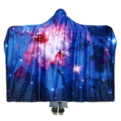 150x200cm Starry Sky Mit Kapuze Decken Wearable Soft Winter Bettdecke