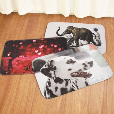 40x60CM Non-Slip Bath Mats Washroom Carpet LOVE Rose Elephant Dog Printed Floor Carpet Pad Rugs