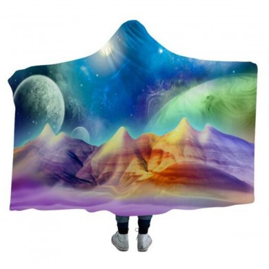 3D Hooded Blankets Colorful Planet Warm Winter Wearable Plush Mats Nap Soft Travel Mats