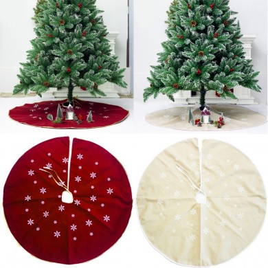 120cm Christmas Tree Skirt Cloth Ruffle Cotton Border Xmas Floor Mat Home Decor Floor Mat