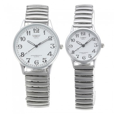 Simple Style Couples Watch Alloy Elastic Banda Orologio da donna impermeabile al quarzo da uomo