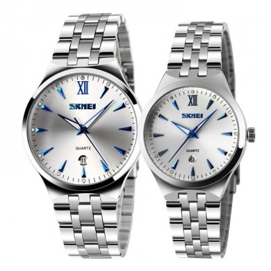 SKMEI 9071 Couple Watch Fashion Luminous Simple Style Lovers Quartz Wrist Watch