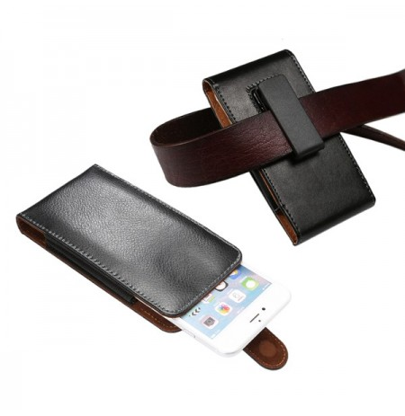 Universal Clip-on Embossing Leather Phone Wallet Waist Bag for Phone Under 6-inch