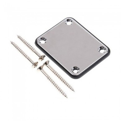 Chrome Neck Plate for Electric Guitar with Four Mounting Screws