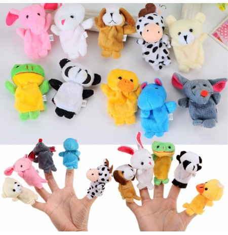 10X Farm Zoo Animal Finger Puppets Toys Boys Girls Party Toys