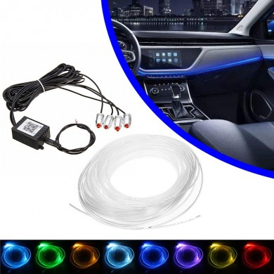 LED Car Interior Decoration Lights Floor Atmosphere Light Strip Phone App Control Colorful RGB