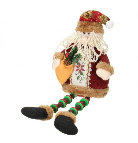 Christmas Home Decoration Sitting Santa Claus Ornament Flannel Toy Gift