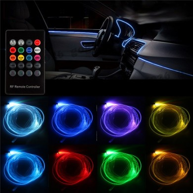 RGB LED Strip Light Filler Gap Decoration Neon Interior Floor Lamp Flexible Tube with Remote Control 5m
