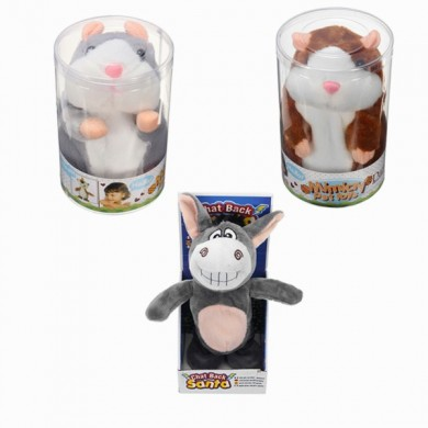 Mimicry Hablar Animal Cute Hamster Donkey Peluche Plush Sound Record Toy Conjunto de tres