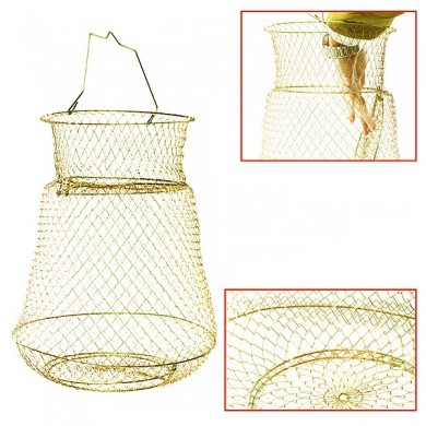 Foldable Golden Steel Wire Fishing Pot Trap Net Crab Cage