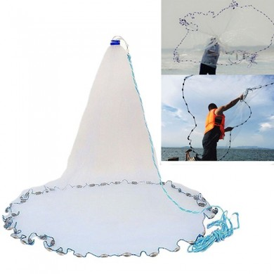 3m 4.2m 5.4m 6.6m Hand Cast Fishing Net Spin Network Bait Fish Net Sinker