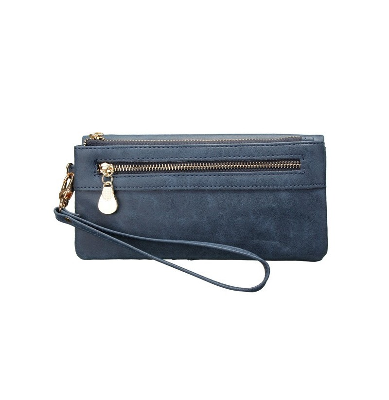 Women Double Zipper Polish Leather Long Wallet (Color: Blue)  - buy with discount