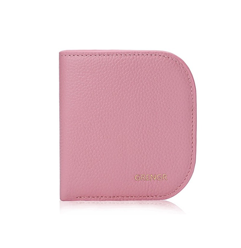 Women Cute Mini Wallet Genuine Leather Card Holder Purse with 6 Card Slots (Color: Deep Pink) фото