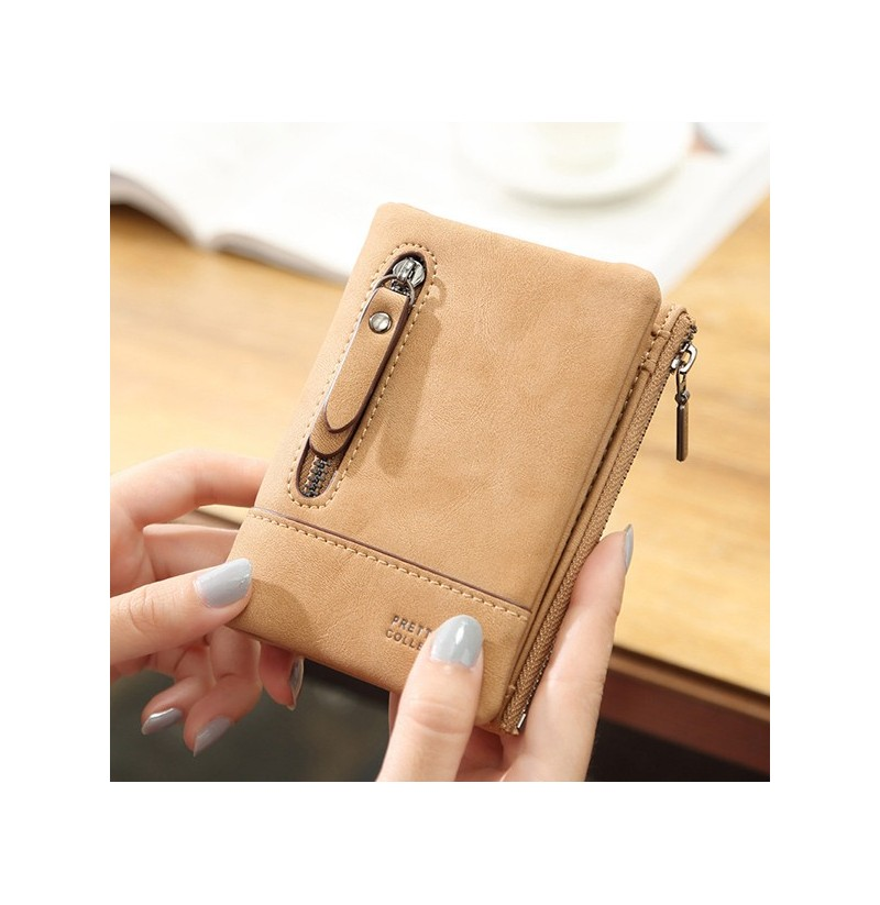 Women Faux Leather Short Wallet 6 Card Slots Changes Purse (Color: Khaki) фото