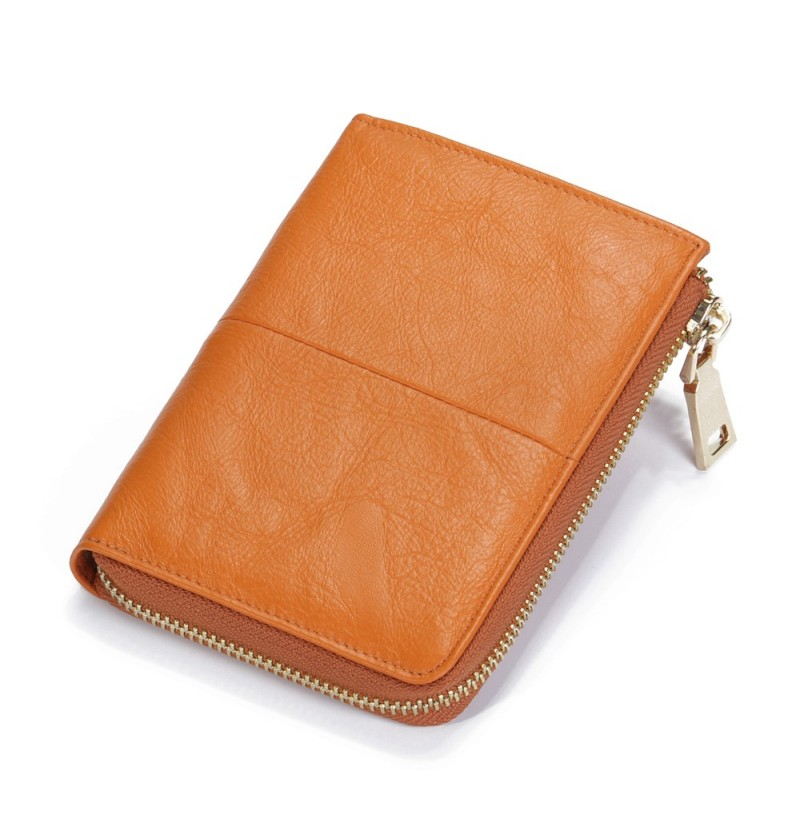 Brenice Genuine Leather 17 Credit Card Holder Zipper Purse (Color: Brown) фото