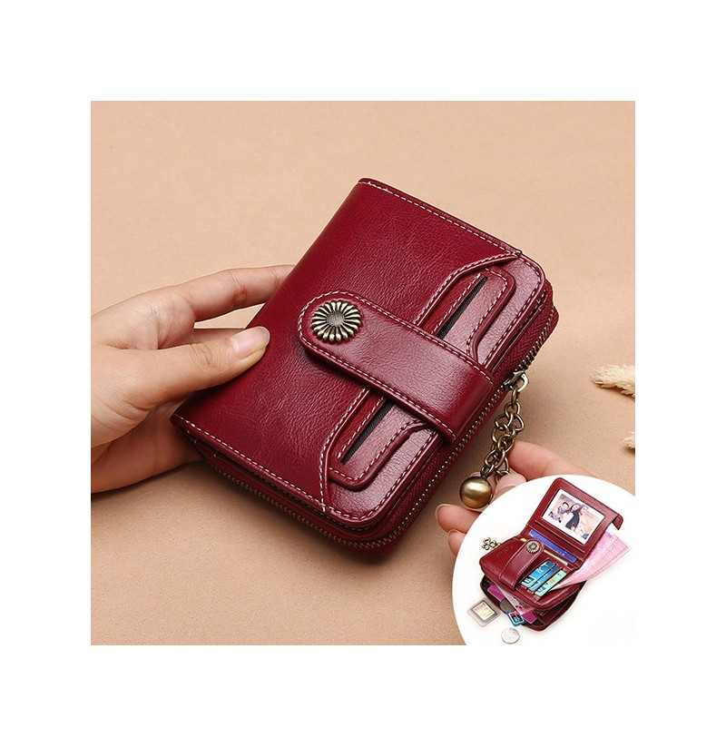 Women Genuine Leather Short Section Multi-function Wallet (Color: Wine Red) фото