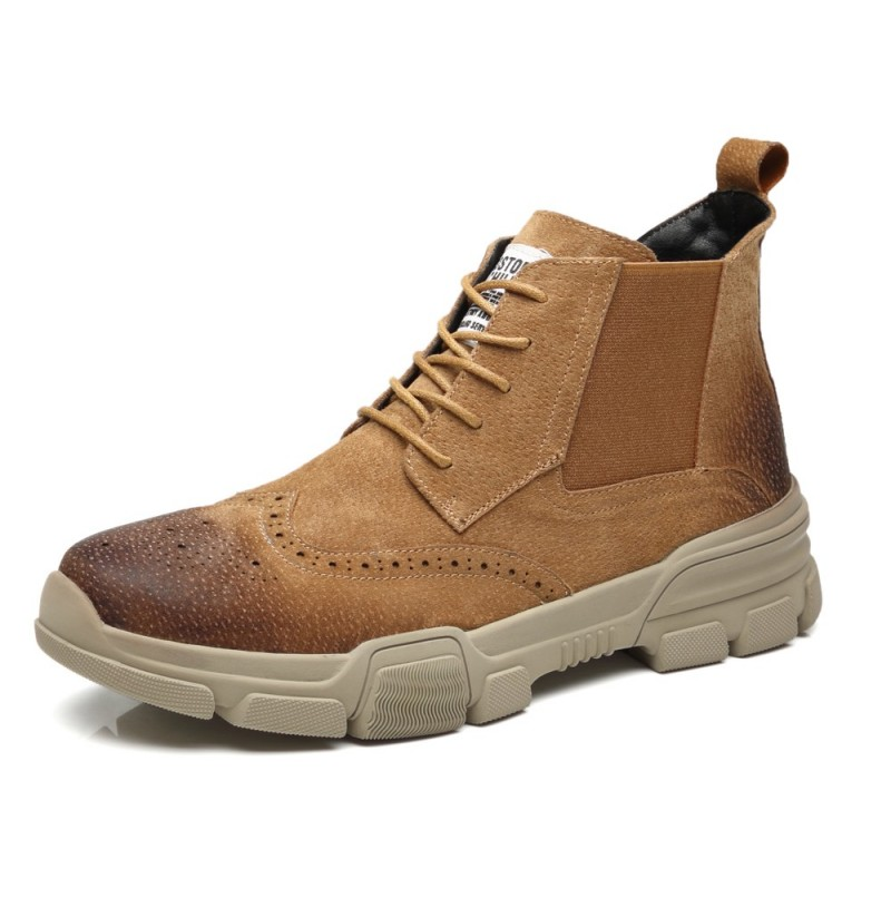 Men Brogue Carved Lace Up Chelsea Ankle Boots (Color: Sand, Size(US): 7.5) фото