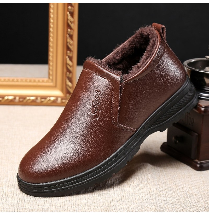Casual Warm Leather Boots (Color: Brown, Size(US): 6.5) фото