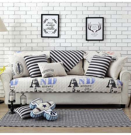 Nordic Thickened Magical Seat Cushion Cover Corner Letter or Stripe Fabric Double Towel Non-slip Sofa Cover
