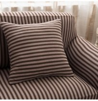 Cotton Striped Sofa Chair Covers Stretch Tight Wrap Slip-resistant Elastic Couch Protector Slipcover