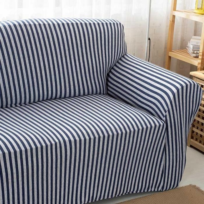 Cotton Striped Sofa Chair Covers Stretch Tight Wrap Slip Resistant Elastic Couch Protector Slipcover