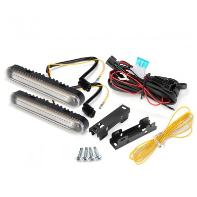 Dual Color 28LED Car Turn Signal Lights Daytime Running Fog DRL Lamp Waterproof Yellow+White