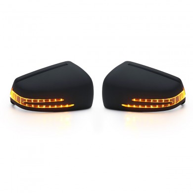 Car Side Mirror Replacement Cover Cap Black with LED Turn Signal Light for Benz W212 W204 W221