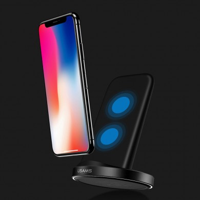 USAMS 10W Qi Standard Wireless Fast Charger Stand Dock para Samsung Galaxy S8 Note 8 iPhone 8 Plus X