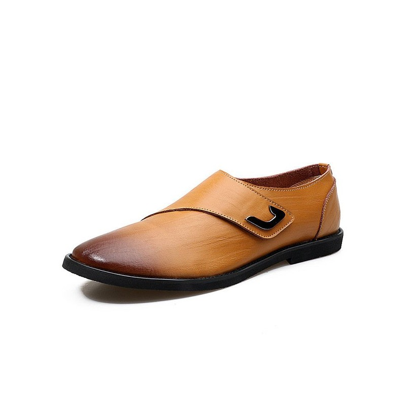 Men Genuine Leather Casual Business Hook Loop Driving Oxfords (Color: Coffee, Size(US): 8) фото