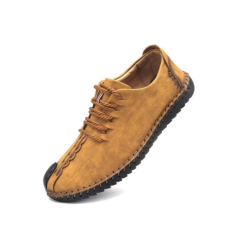Menico Hand Stitching Soft Sole Casual Lace Up Oxfords Shoes (Color: Khaki, Size(US): 11) фото