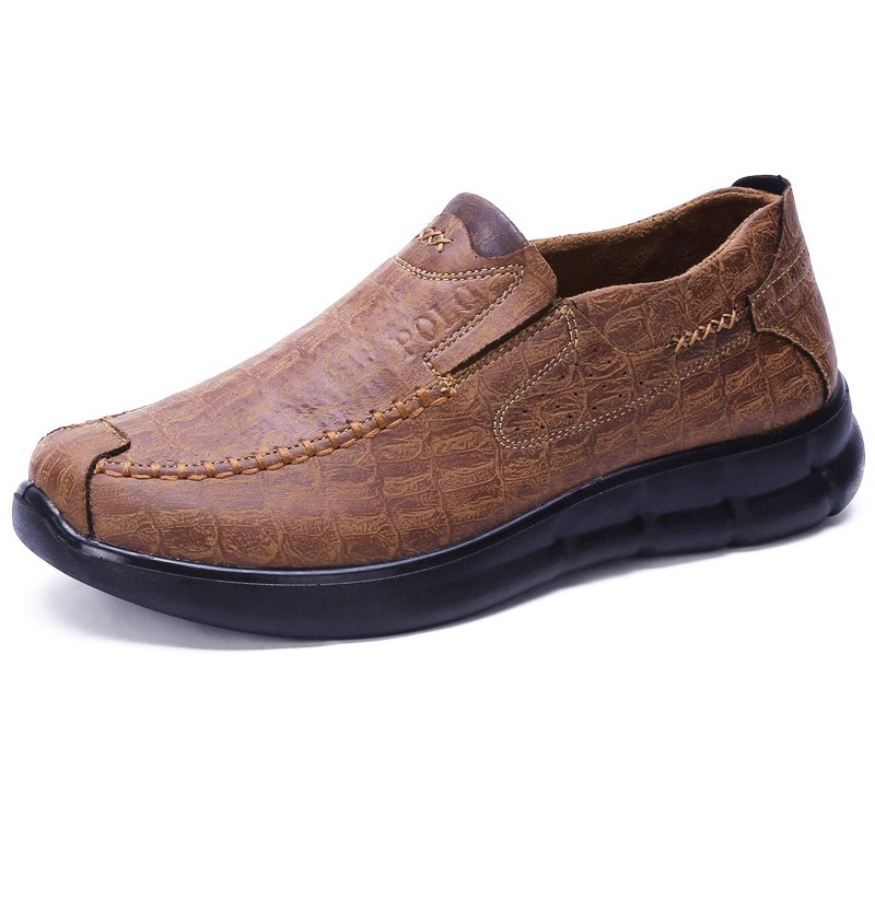 Comfy Sole Slip On Leather Oxfords (Color: Black, Size(US): 8.5) фото