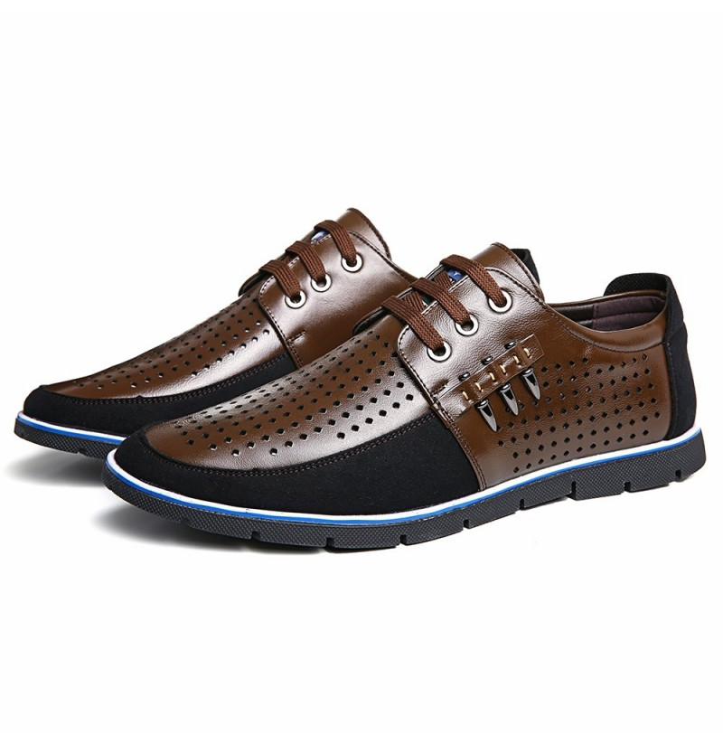 Men Genuine Leather Hole Oxfords (Color: Dark Blue, Size(US): 9) фото